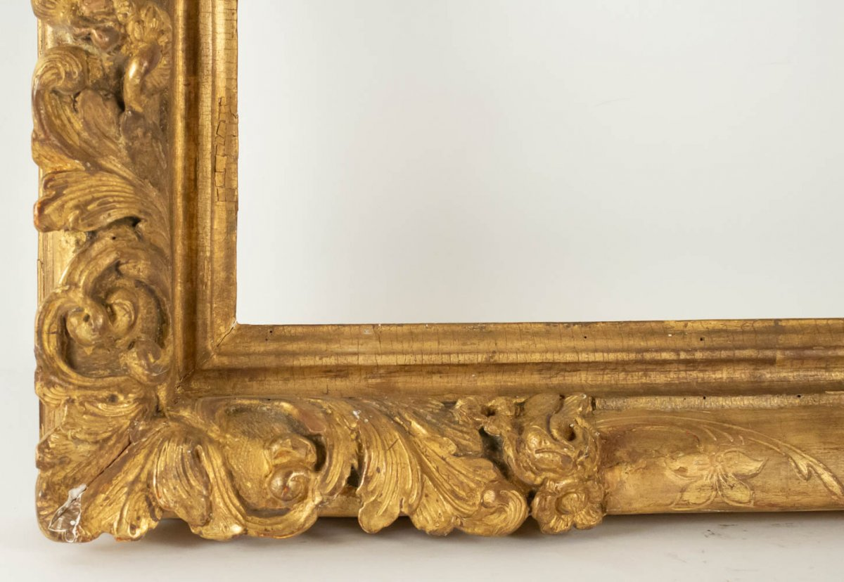 Fabulous Louis XIV Period Frame, Mirror With Flower Corners, France 18th Century-photo-1