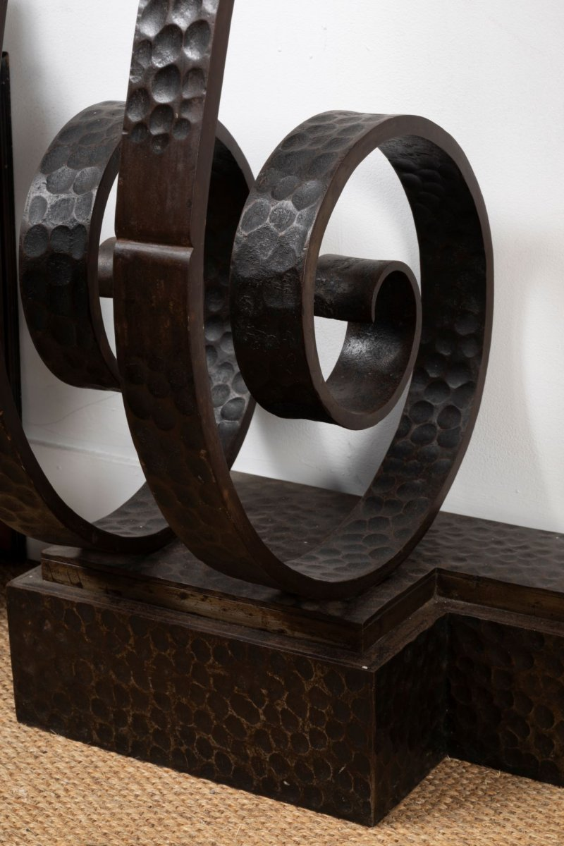 Beautiful Art Deco Hammered Wrought Iron Console, In The Taste Of E. Brandt-photo-3