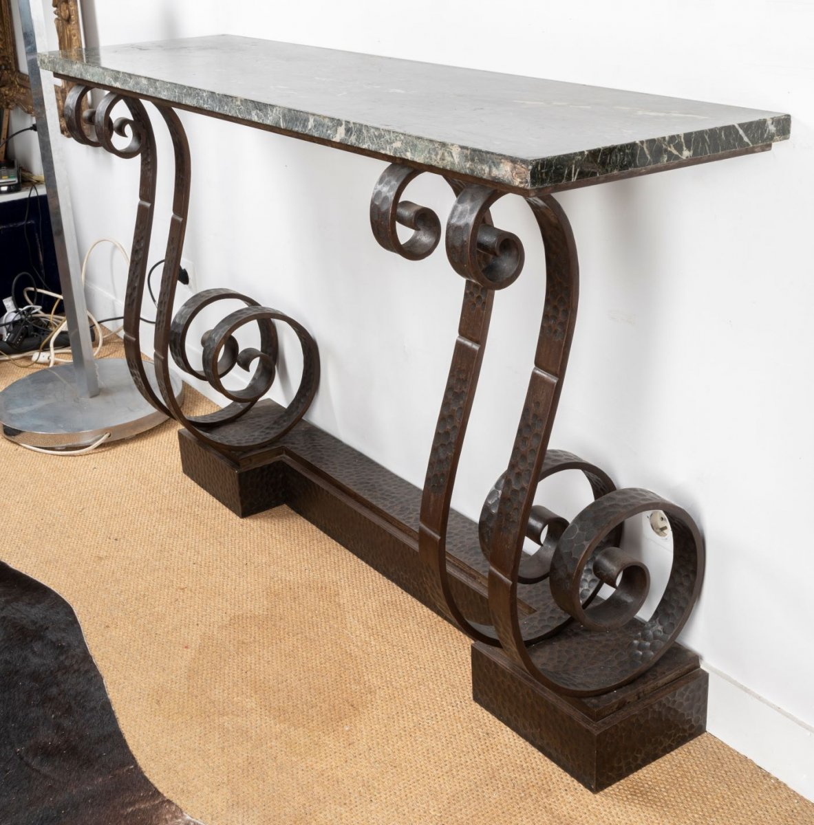 Beautiful Art Deco Hammered Wrought Iron Console, In The Taste Of E. Brandt-photo-4