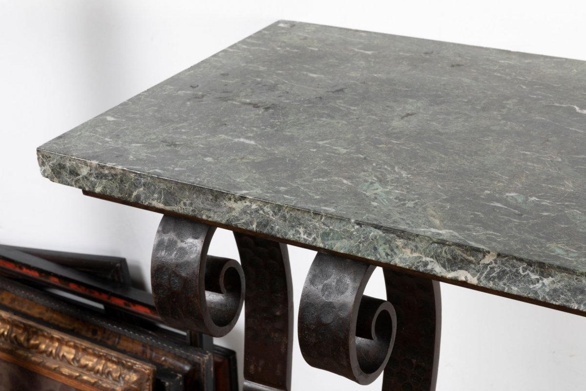 Beautiful Art Deco Hammered Wrought Iron Console, In The Taste Of E. Brandt-photo-1