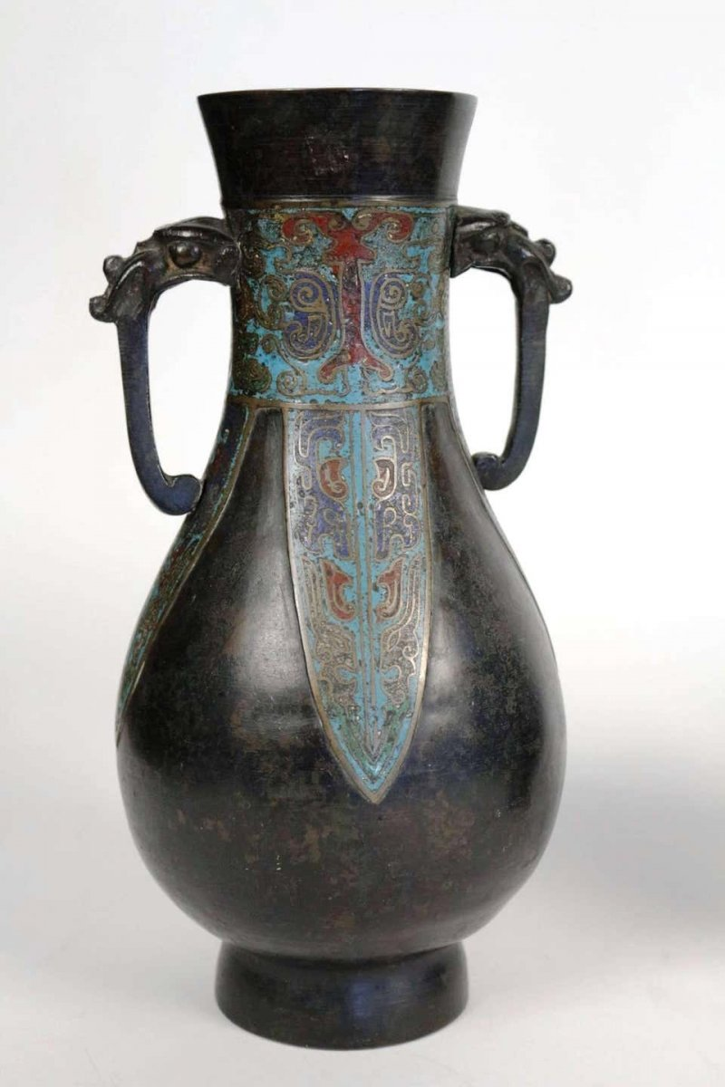 Pair Of Japanese Bronze Vases With Enamelled Decoration-photo-2