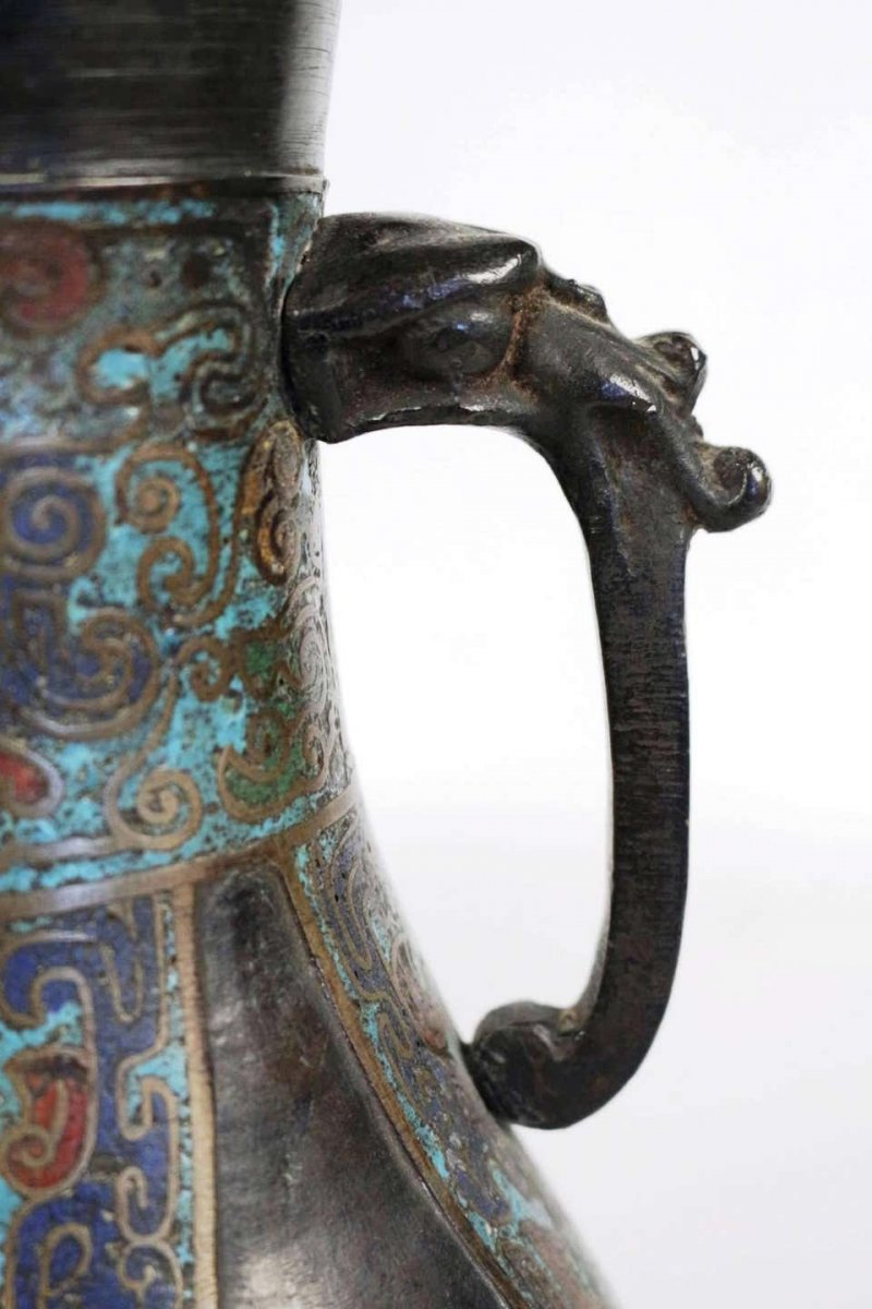 Pair Of Japanese Bronze Vases With Enamelled Decoration-photo-4