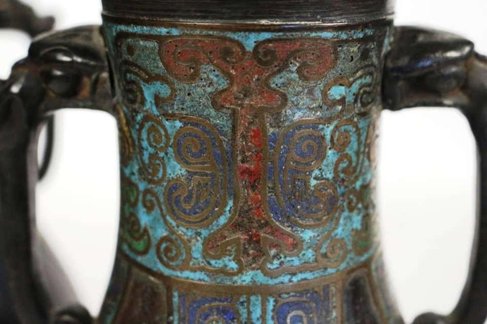 Pair Of Japanese Bronze Vases With Enamelled Decoration-photo-1