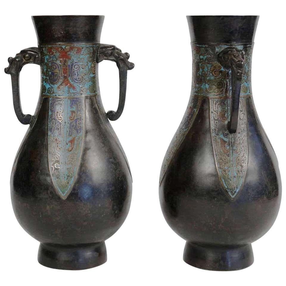 Pair Of Japanese Bronze Vases With Enamelled Decoration