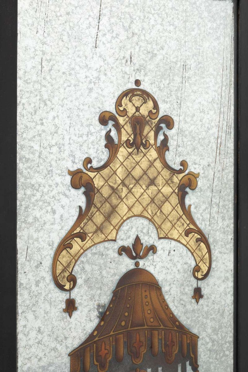 Pair Of églomisé Mirrors Attributed To Maison, Jansen And Decorated With Antics-photo-1