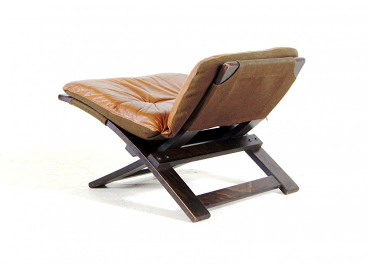 Swedish Leather And Rosewood Footstool By Ake Fibytter For Nelo Mobel, 1970s-photo-1