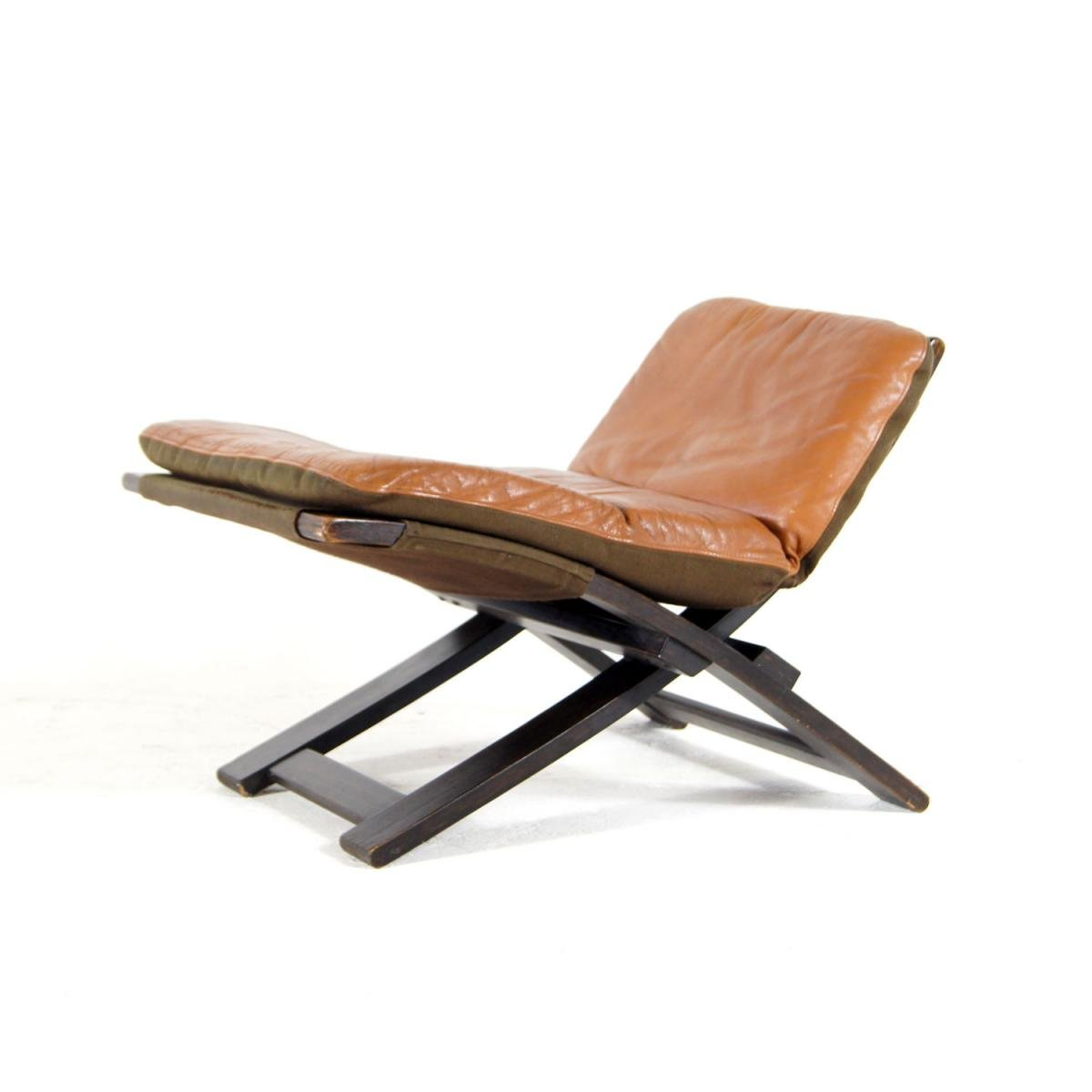 Swedish Leather And Rosewood Footstool By Ake Fibytter For Nelo Mobel, 1970s