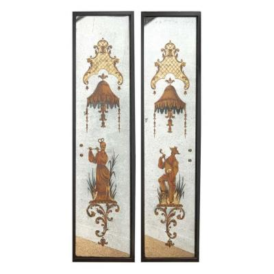Pair Of églomisé Mirrors Attributed To Maison, Jansen And Decorated With Antics