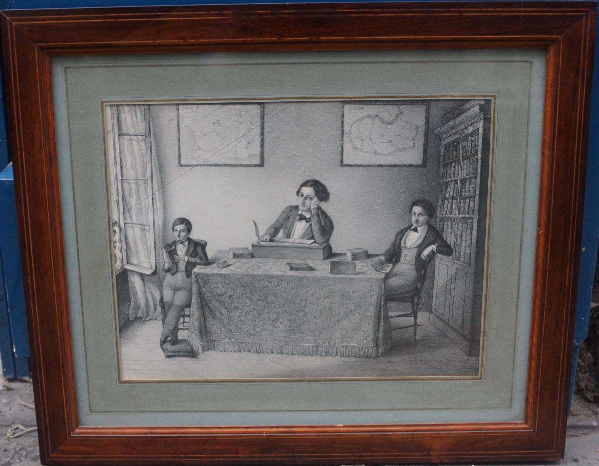 Dessin, Un Père Et Ses Fils Attablés Dans Un Cabinet De Travail