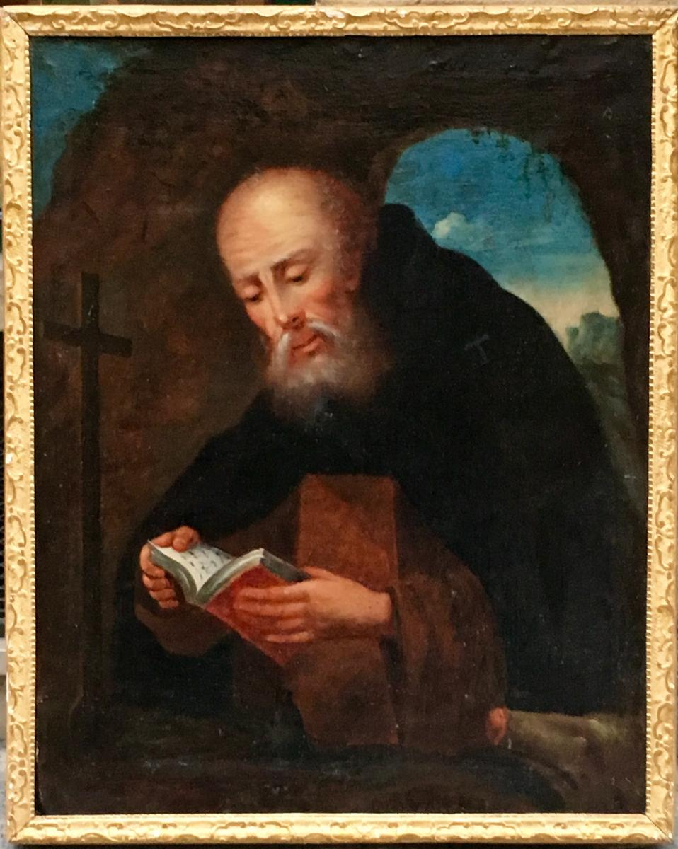"""Painting """"saint Anthony And His Pig"""" Hst 18th Century"""