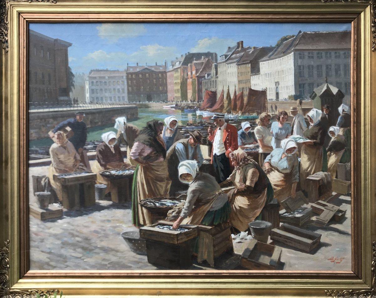 Marché Aux Poissons à Copenhague  Signé Bjulf ( Soern Christian Bjulf ( 1890-1958) Ec Danoise