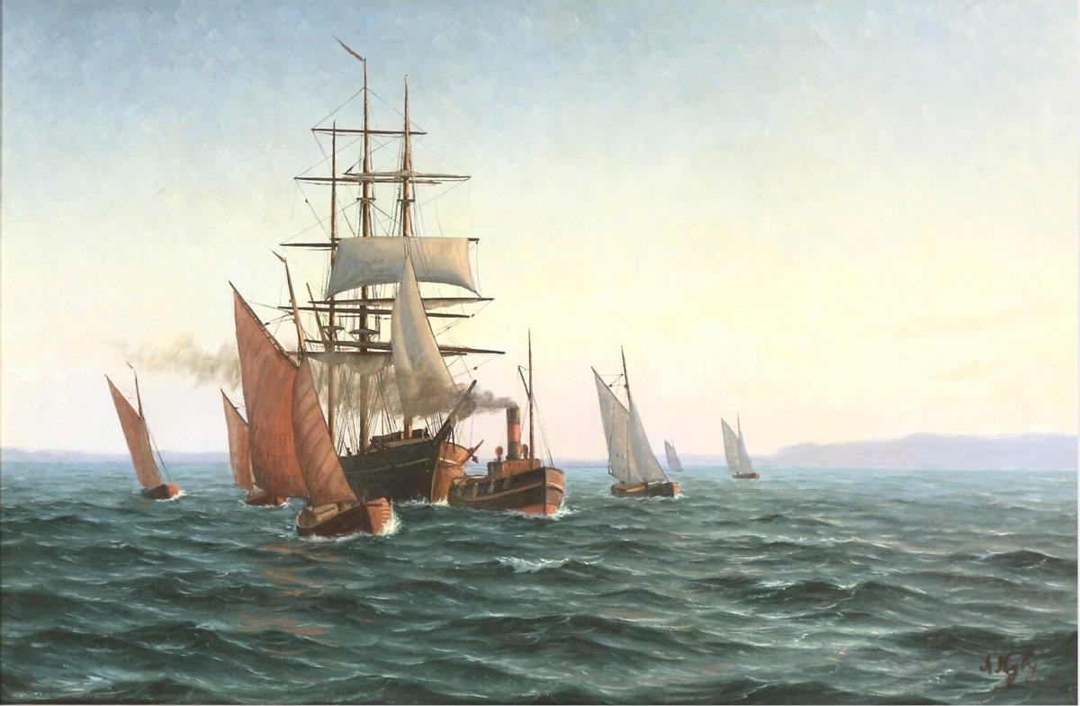 Marine Classique -grand Voilier En Remorque Attribué A W.  Arnesen École. Danoise