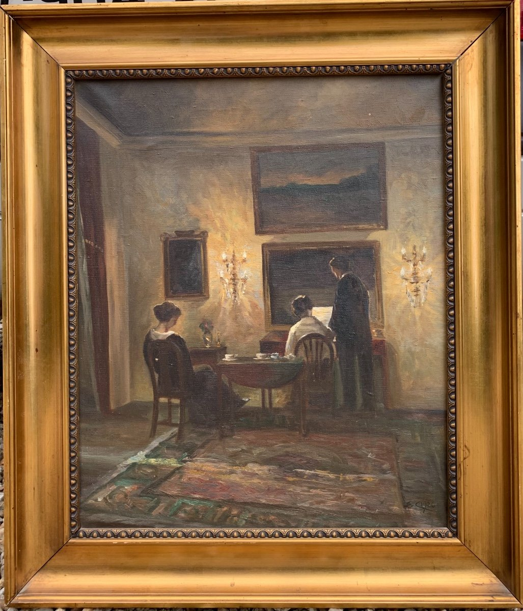 Danish Interior View: Reading Characters ,from The Back , Signed Émilie Christensen, Date 1920-photo-2