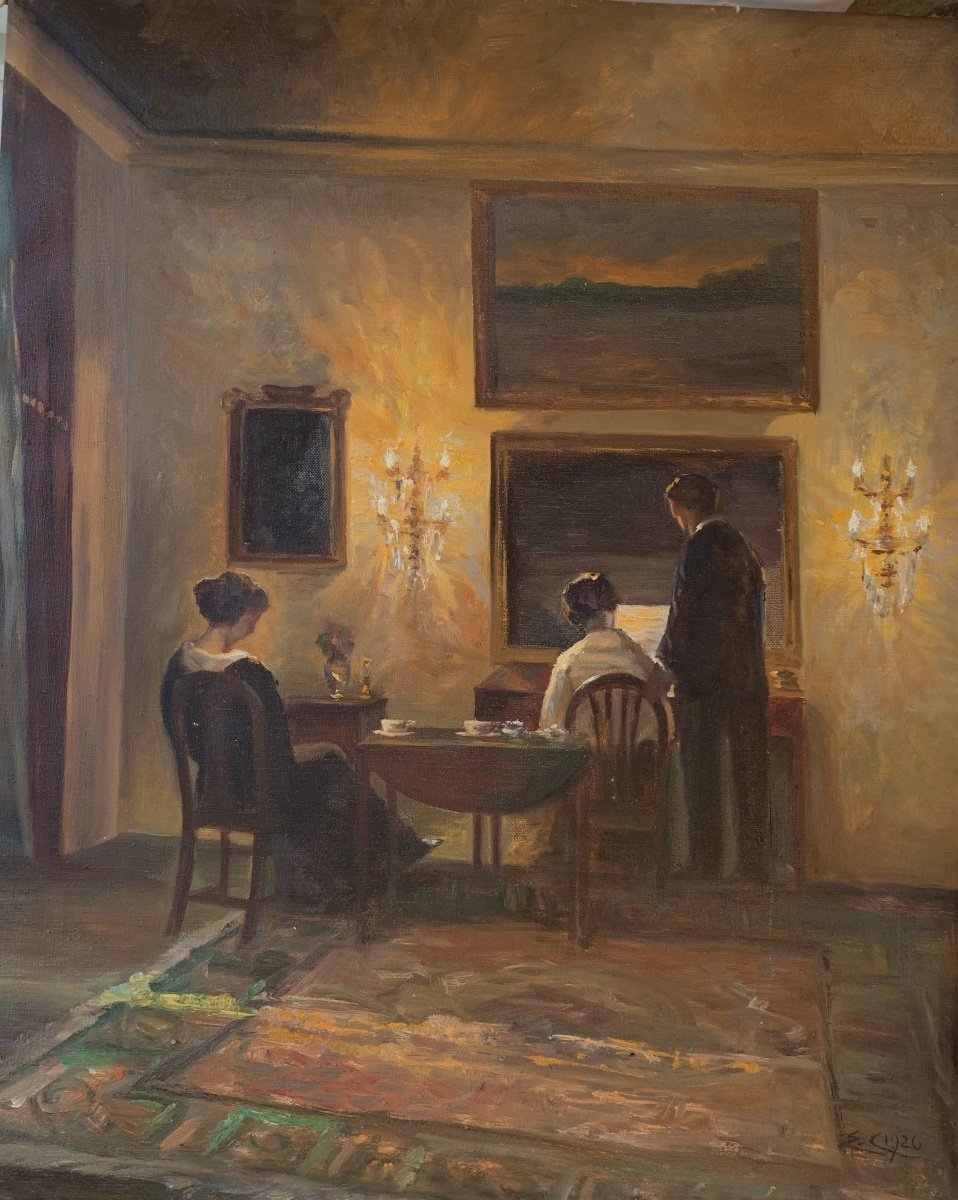 Danish Interior View: Reading Characters ,from The Back , Signed Émilie Christensen, Date 1920