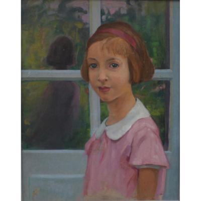 Auguste  Krier, Portrait de Petite Fille Au Ruban, Ecole Suisse, 1930