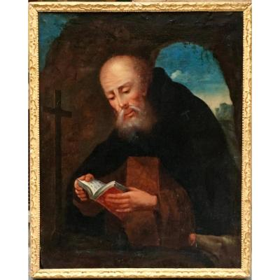 "Painting ""saint Anthony And His Pig"" Hst 18th Century"