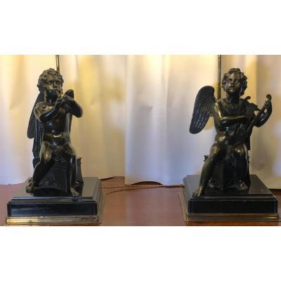 Anges Musiciens Bronze Paire Lampes