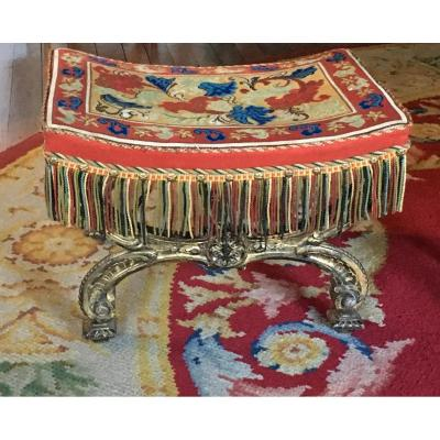 Stool Style Louisxiv Tapestry Au Petit Point