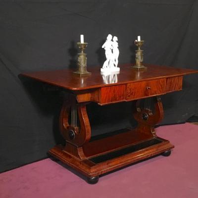 Writing Table On Lyras,  Mahogany, Denmark Circa 1860
