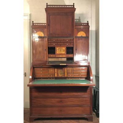 Large Architectural Secretary, Denmark Late 18th Cent.   Mahogany And Birch