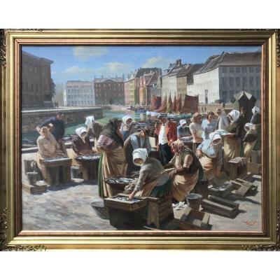 Fish Market In Copenhagen Signed Bjulf (soern Christian Bjulf (1890-1958) Danish Ec
