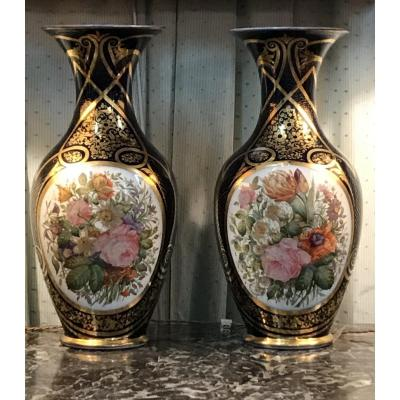 Pair Of Large Vases Porcelain Of Bayeux Decor Flowers