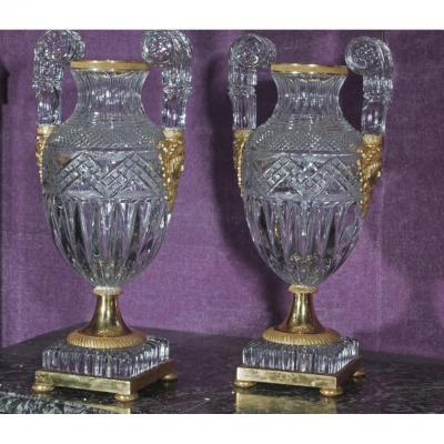 Pair Of Large Russian Empire Style Vases, Cut Crystal And Gilt Bronze H58cm