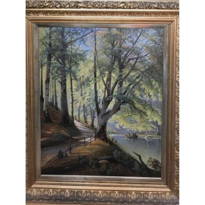 «Paysage De Forêt» Tableau  Sign,  Siegfred Hass, 1894 . Ec. Danoise.