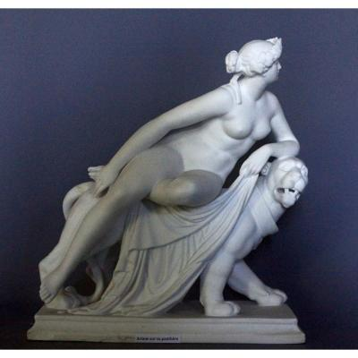 """adriana On The Panther"", Figure  In Biscuit Kpm, After Dannecker 1758-1841."