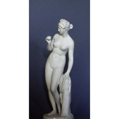 """venus With Apple"" Biscuit Figurine After Thorvaldsen, Manufacture Bing & Grondall, 1866"