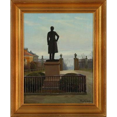Statue In Frederiksberg Park (frederik VI From Back) Signed Sand Holm