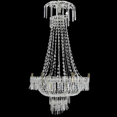 Large Art Deco Classic Swedish Crystal Chandelier