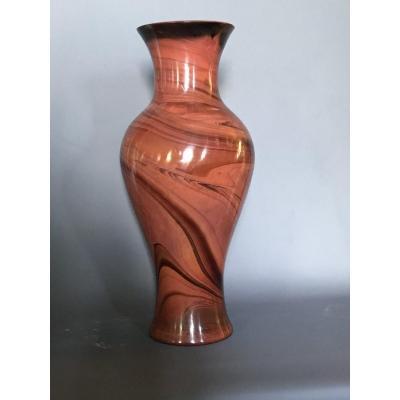 Vase Art Deco Lythialine Rouge , Bohème  XXeme Siècle