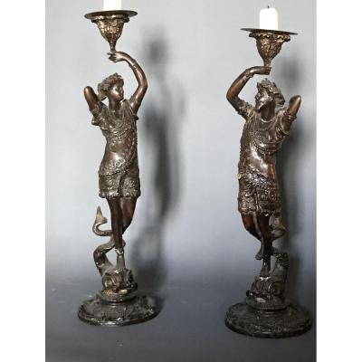 Pair Of Candelstcks: Bronze Neo-renaissance Subjects On Delfins