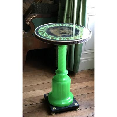 Small Pedestal Table In Green Opaline And Eglomized Top. Bohemia 19th Century