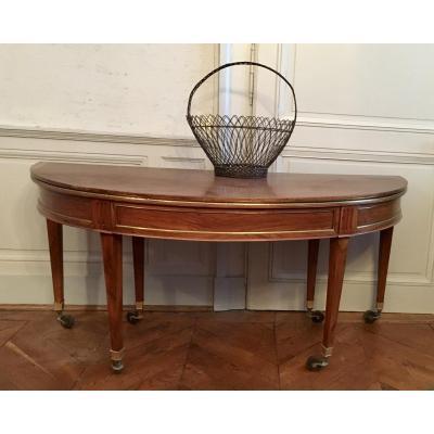 Grande Table ½ Lune Ovale,  Directoire En Noyer massif