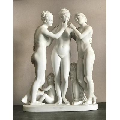 """the Three Grâces, After Thorvaldsen, Bisque Figure Signed Royal Copenhagen"