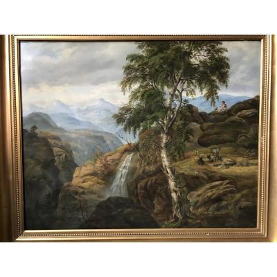 Lumineux Paysage De Montagne Niels Rademacher Age D'or De La Peinture Danoise