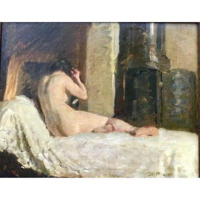 Tableau Intérieur «réveil»  Huile Sur Toile Signée Julius Paulsen. (ec Danoise ) 1919