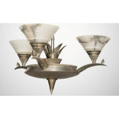 Art-deco Silver Bronze And Alabaster Chandelier Genet & Michon 3 Lights