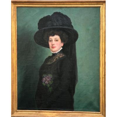 «belle Epoque» Lady's Large Portrait Attr. Michel Richard-putz, 1917