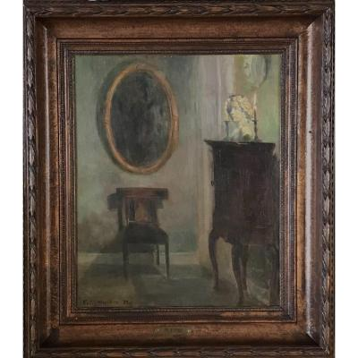 """""""a Danish Interior"""" Sign. Friis Nybo,, 27- Oil On Canvas"""