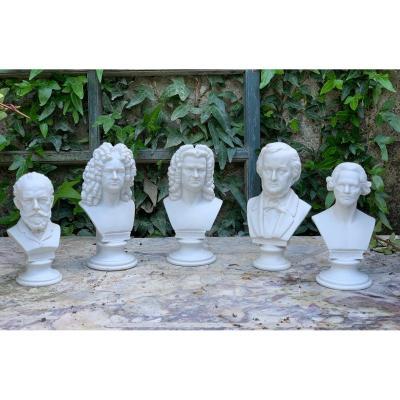 Bustes De Compositeurs (5) En Biscuit De Saxe