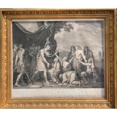 «Coriolan et Veturie» D'après J. J. Le Barbier Grande Gravure par Avril , 1790