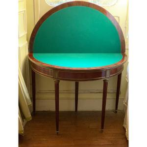 Table ½ Lune Acajou et Laiton Style Louis XVI Russe