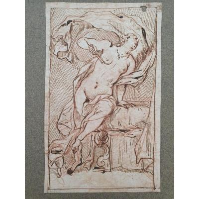 18th Century Ink And Sanguine Drawing