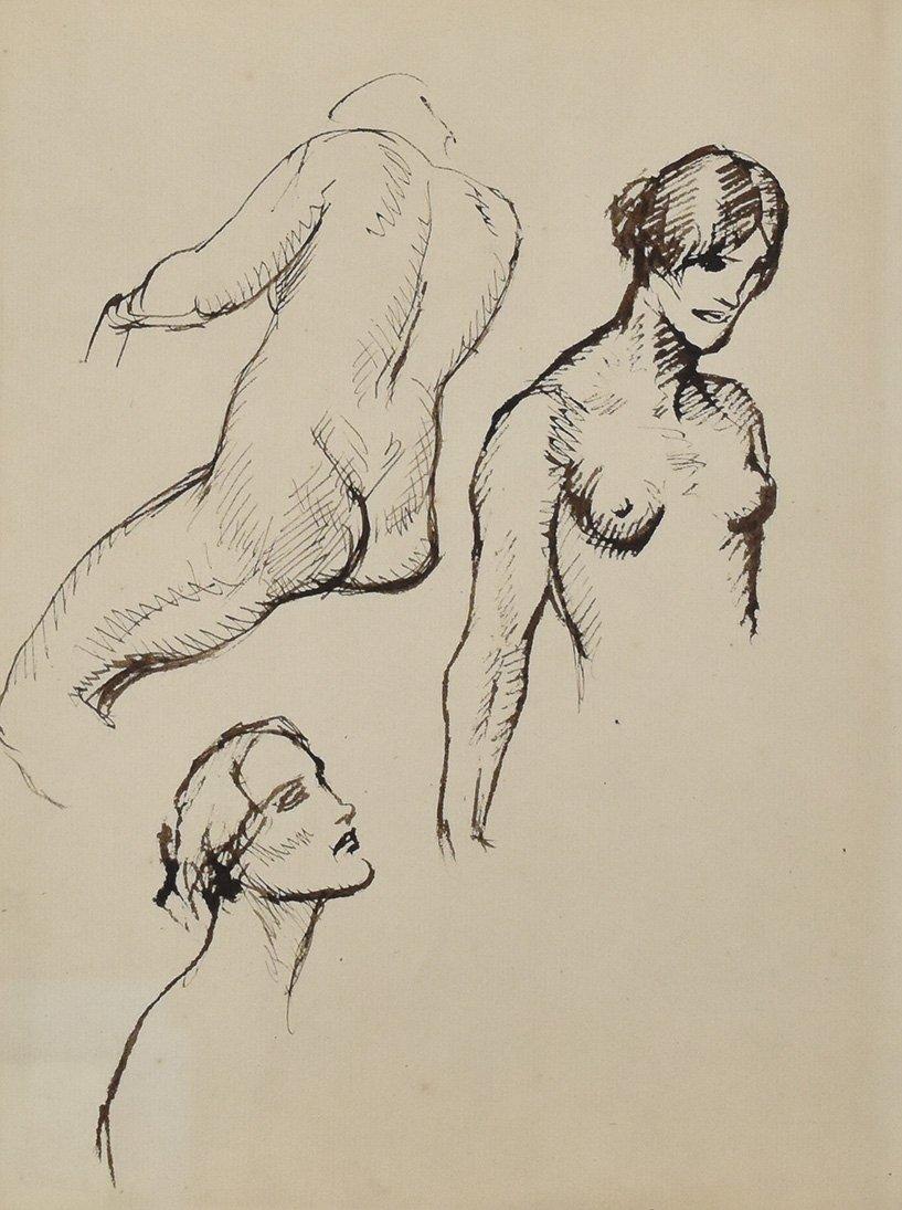 Théophile Alexandre Steinlen (1853-1923), dessin à l'encre de chine, études de femme nue