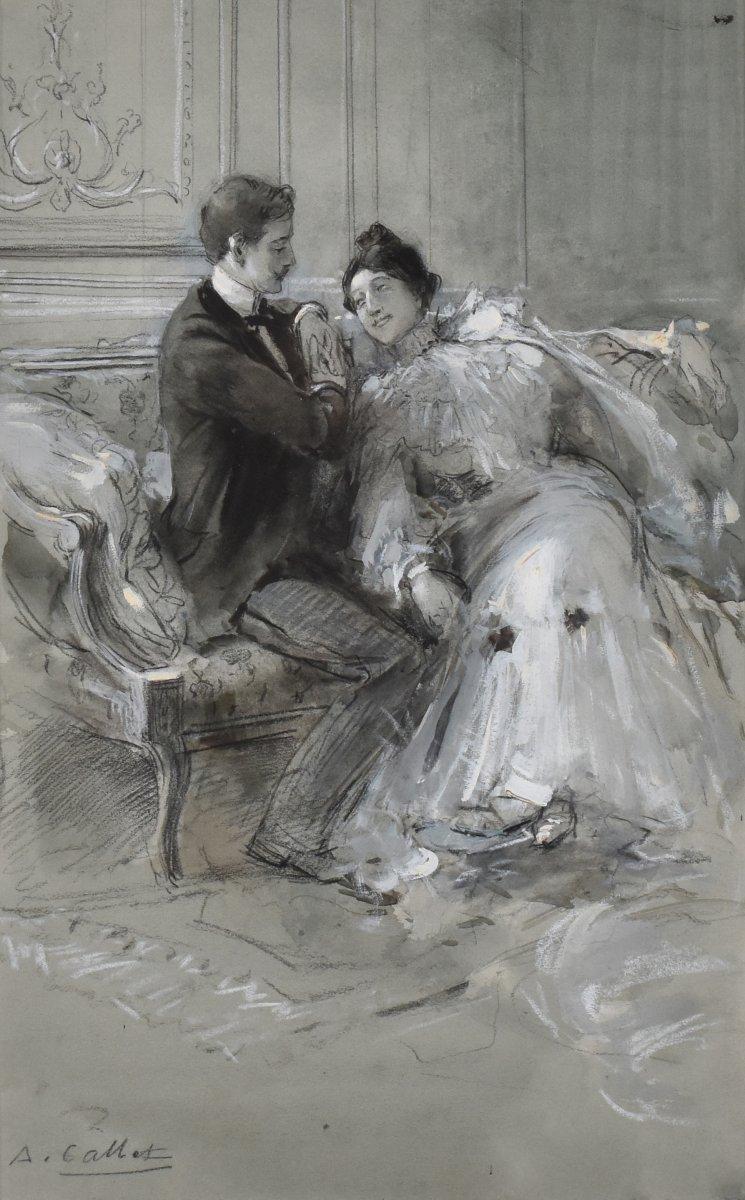 La séduction, par Antoine Calbet (1860-1944), dessin au fusain, aquarelle et gouache, amoureux