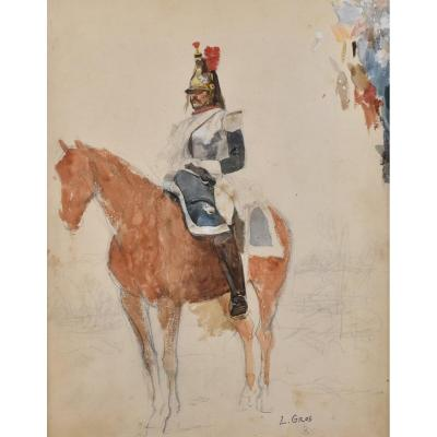 Lucien Alphonse Gros (1845-1913), Black Pencil And Gouache On Paper, Horseman Of The Republican Guard