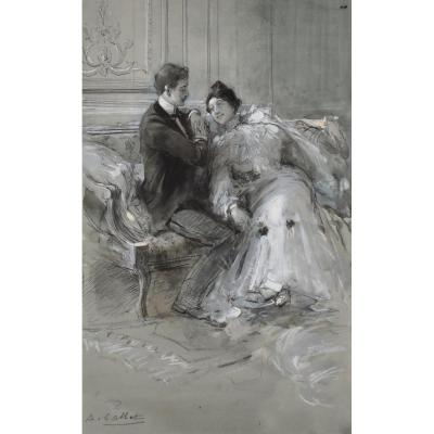Seduction By Antoine Calbet (1860-1944), Charcoal Drawing, Watercolor And Gouache, Lovers